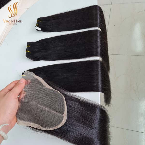vietnam hair - 5x5 closure 18 inches super drawn bone straight hair 22 inches