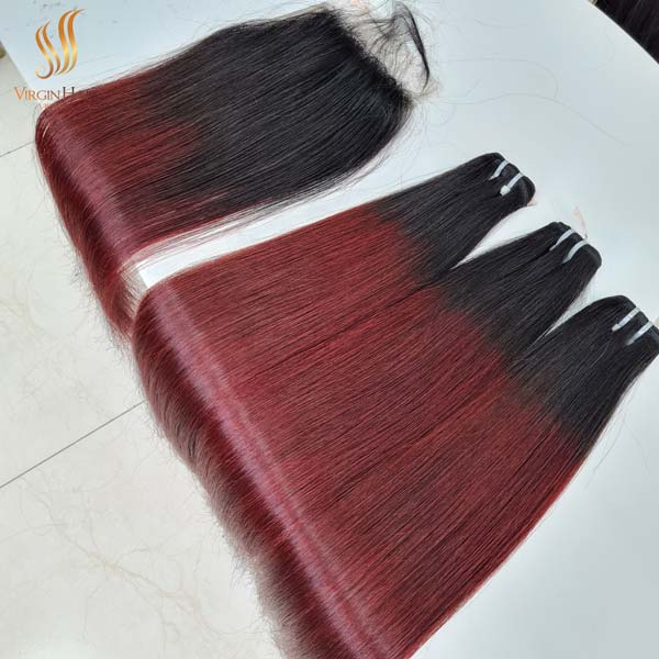 5x5 closure free-part and bundles straight hair ombre hair color black to burgundy color 22 inches