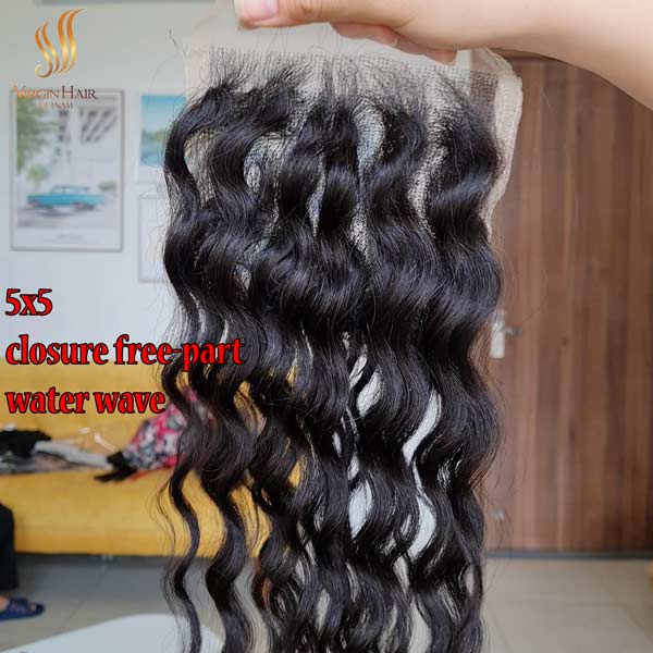 5x5 closure wholesale price free-part water wave