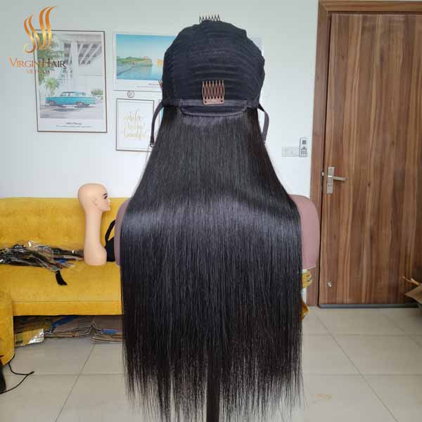 bone straight human hair wig - vietnam hair extensions - 5x5 lace closure wig