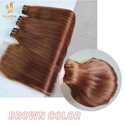 Brown color bundles and closure bone straight hair