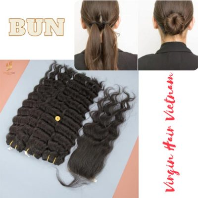 Keeping wavy hair in place at bedtime with a bun is very effective!