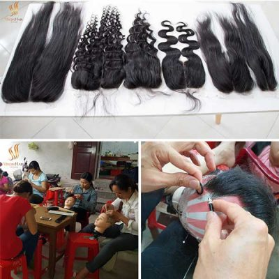 Factory workers are hand crocheting Lace closure