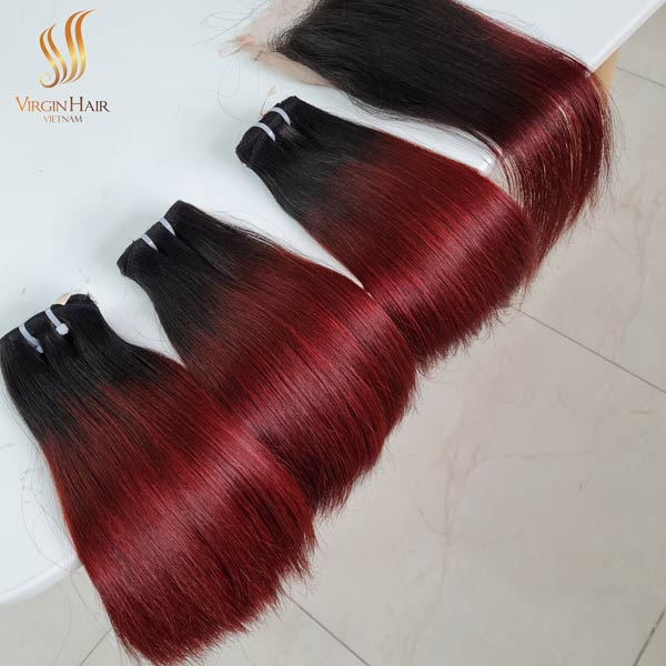 vietnamese hair 5x5 closure free-part and bundles straight hair ombre hair black to burgundy color 10 inches