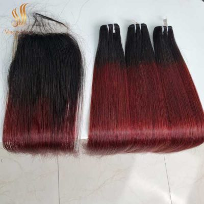 5x5 closure free-part and bundles straight hair ombre color black to burgundy color 22 inches