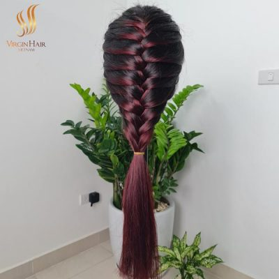 Lace closure wig ombre color - BLACK To BURGUNDY