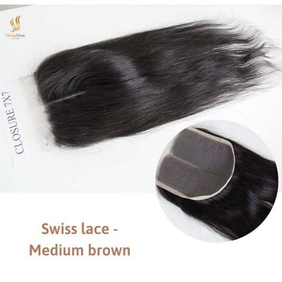 Closure 7x7 Swiss lace - Medium brown middle part Straight hair