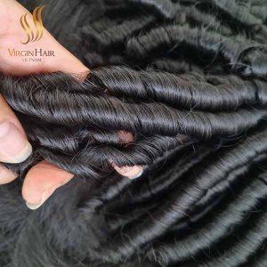 double drawn bouncy curls hair- virgin human hair - hair bundles with closure