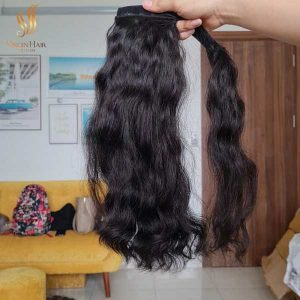ponytail human hair - Cambodian hair extensions - raw cuticle aligned hair