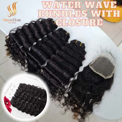 3 bundles water wave with a closure to make human hair wigs