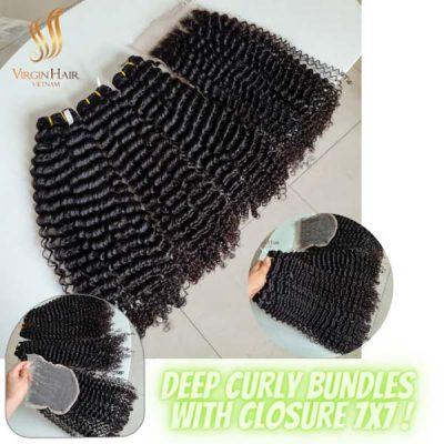 Deep curly bundles with closure 7x7 from Virgin Hair Vietnam
