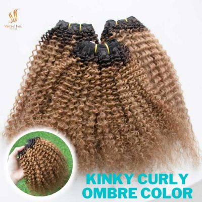 Kinky curly ombre color made by human hair