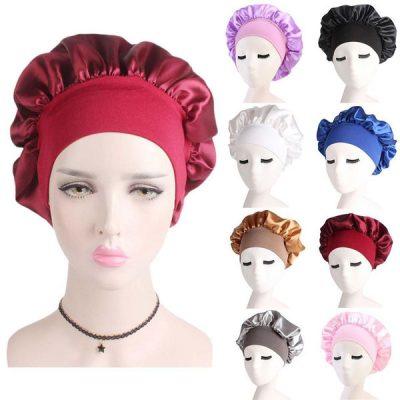 a satin headscarf.