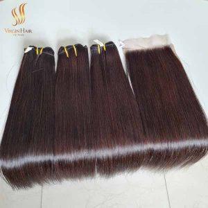 bone straight human hair - vietnam hair - hair bundles with lace closure