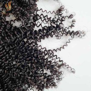 double drawn kinky curly hair - hair bundles with closure - 100% virgin human hair