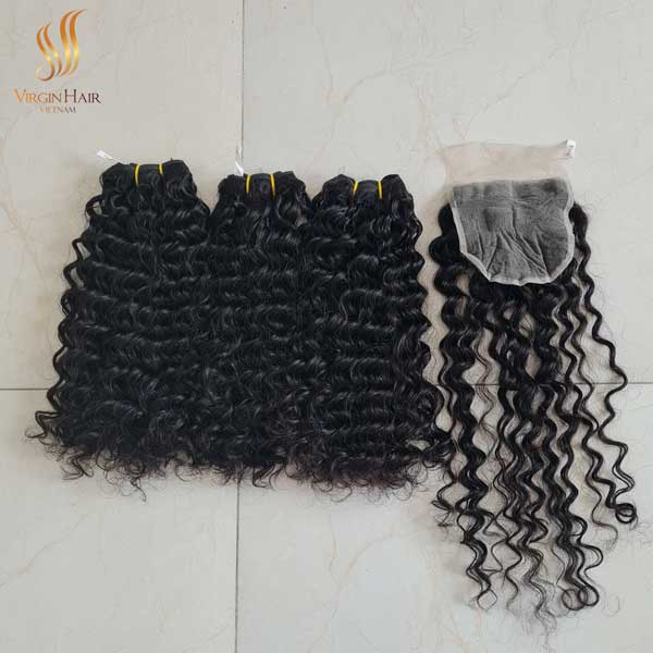 double drawn Vietnamese hair - weft hair extensions - water wave hair