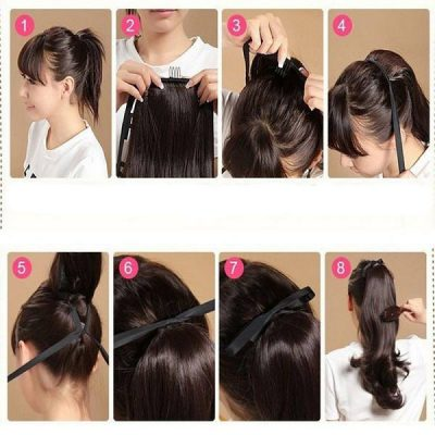 Instructions for tying a ponytail wig