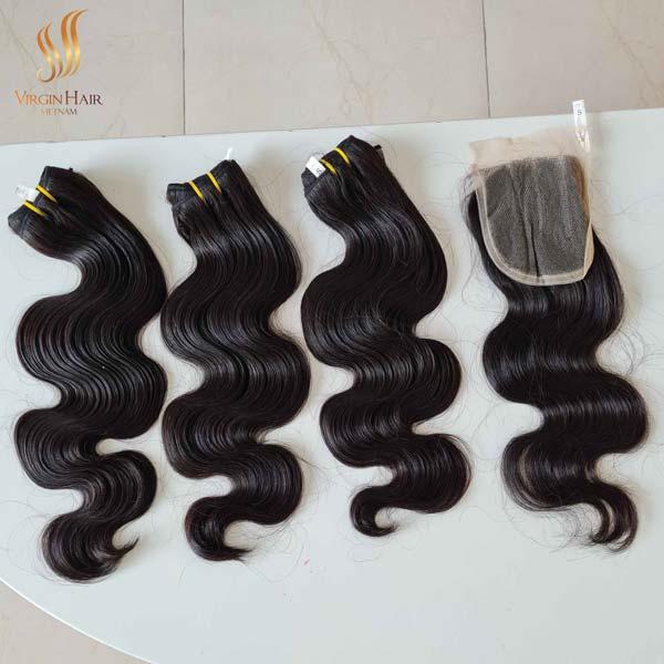 Single drawn virgin hair - body wave bundles with closure - raw hair