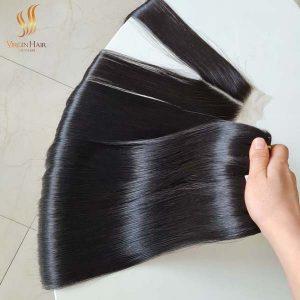 bone straight double drawn hair - human hair vietnam suppliers - bundles and middle part closure