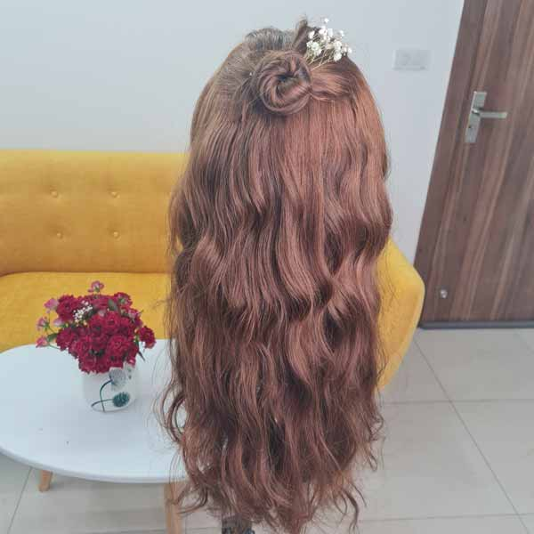 Human Hair Wig_ Brown Color_ 3 bundle 24 inch and 5x5 Closure 18 inch
