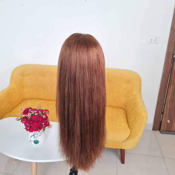 Straight Hair Wig_ Brown Color 24 inch and 5x5 Closure Middle Part